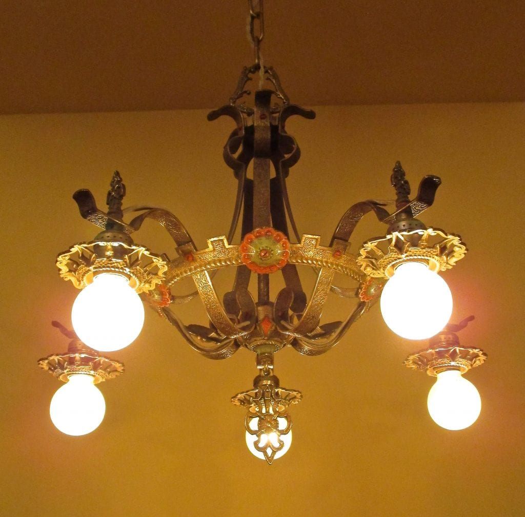 1930s Polychrome High Quality Chandelier Luscious