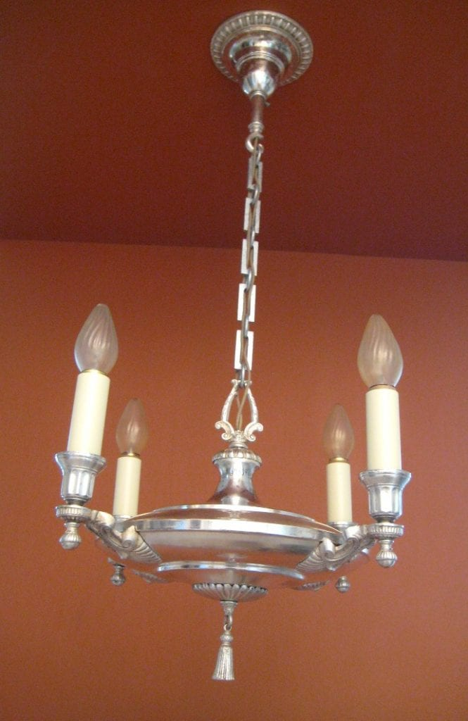 1920s Colonial Revival Silver 1 Chandelier 4 Sconces