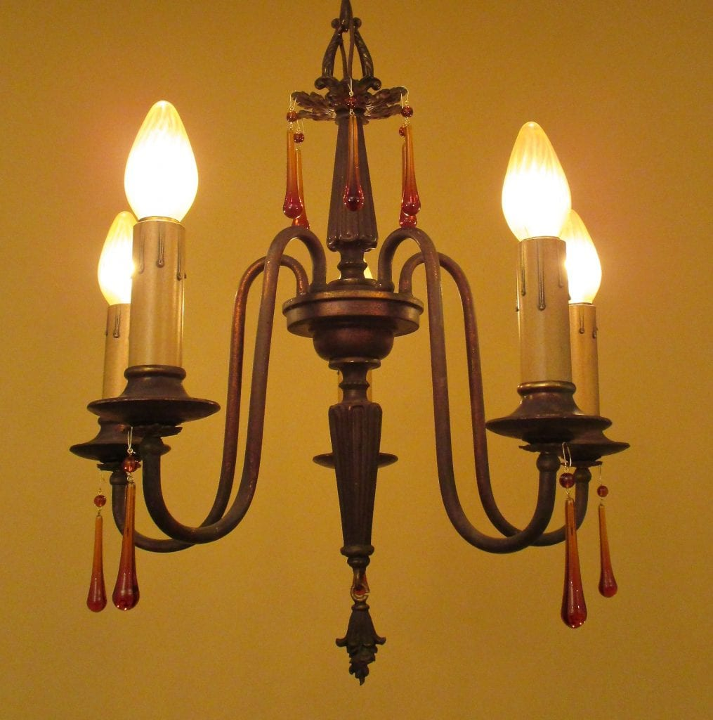 1920s chandelier with amber glass