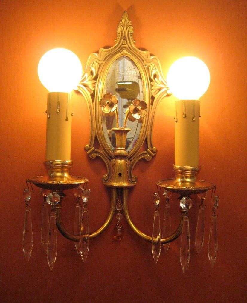Pair 1920s High Quality Sconces Mirrored Backs on art deco pink bedroom