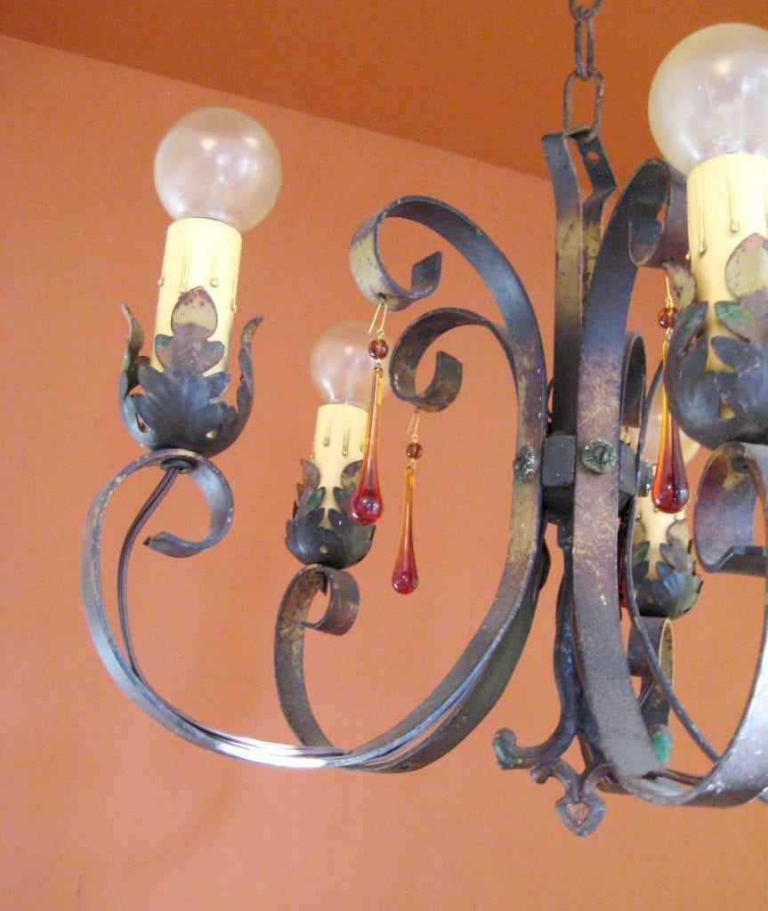 1920s polychrome chandelier. Amber glass drops.