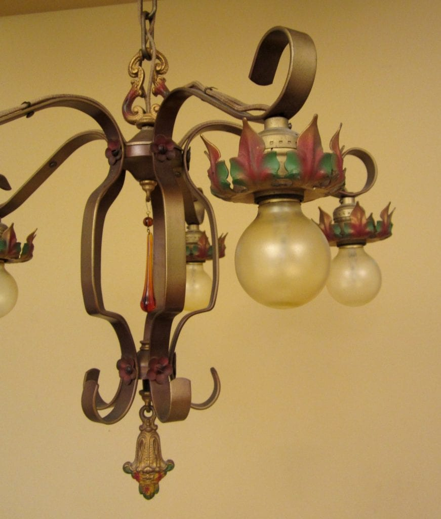 1920s strap-style chandelier. Lovely original polychrome.