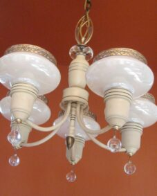 1930s Art Deco SET. Pair chandeliers. Pair sconces.