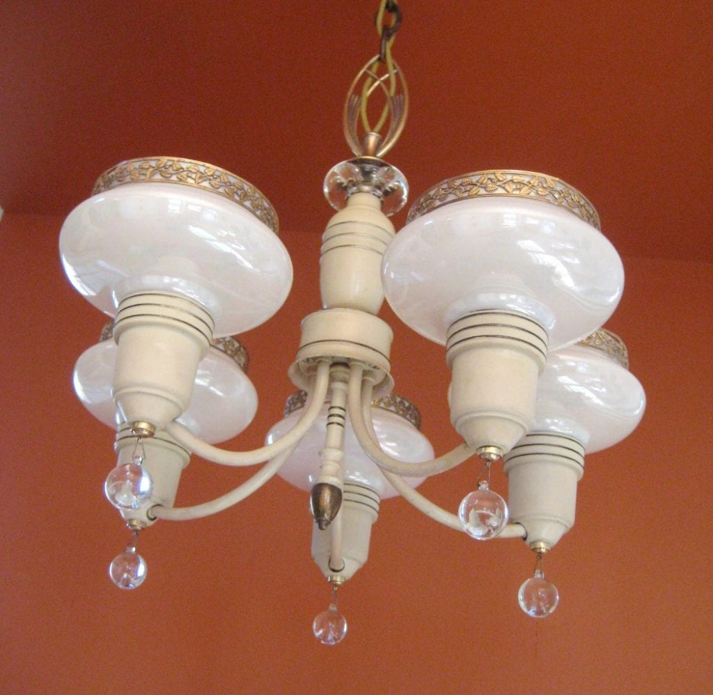 1930s Art Deco SET. Pair chandeliers. Pair sconces.