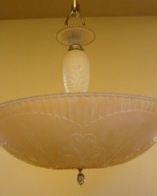 1930s Art Deco chandelier by Markel. Gorgeous color.