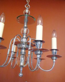 1930s chrome/glass chandelier. Dashing. Extraordinary.