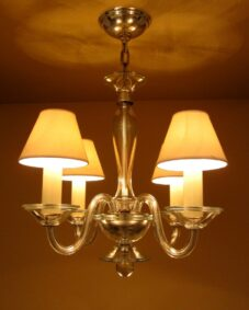 1940s Hollywood-Regency all glass chandelier by Lightolier.