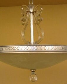 1940s Hollywood Regency silver/brass chandelier by Lightolier.