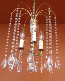 1950s Mid-Century Hollywood-Regency crystal chandelier.