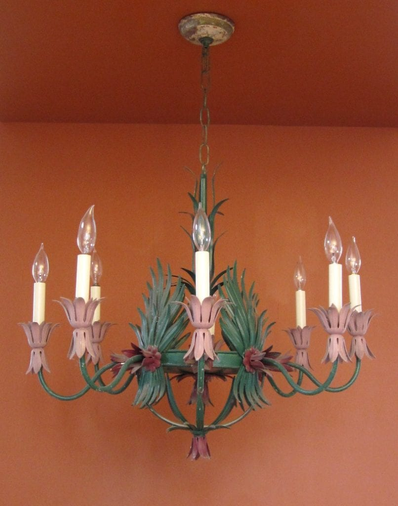 1960s Hollywood-Regency garden room chandelier. HUGE. Will recolor.