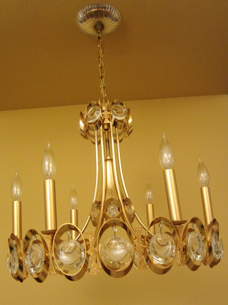 1970s 24k Gold Crystal Chandelier By Sciolari