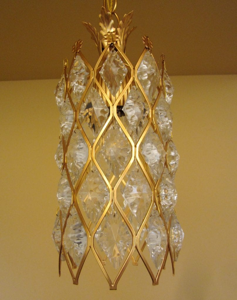 1970s Hollywood-Regency crystal foyer pendant by Virden. NEVER USED!