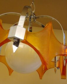 1970s Mod chrome chandelier by Moe. Coolest light ever.