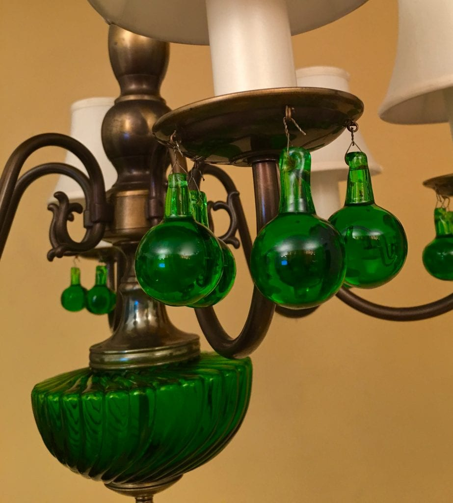 1950s Green Glass Chandelier