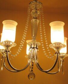 All-original 1940s crystal chandelier.