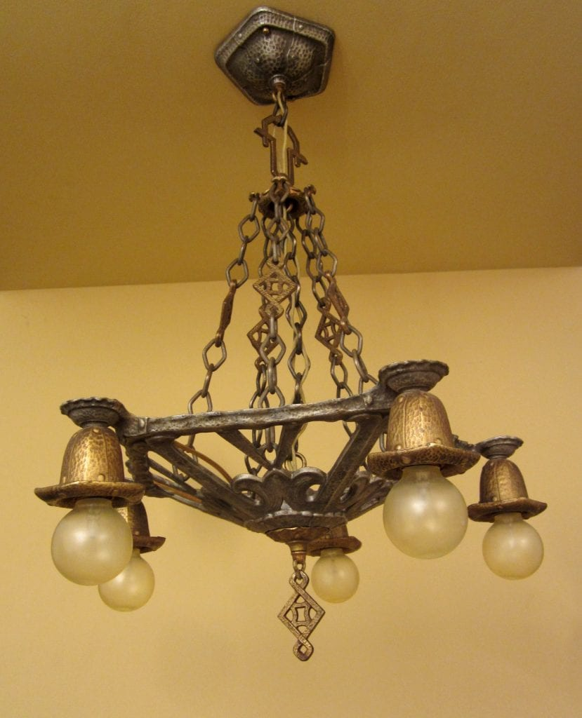 Circa-1930 Spanish-Revival chandelier.