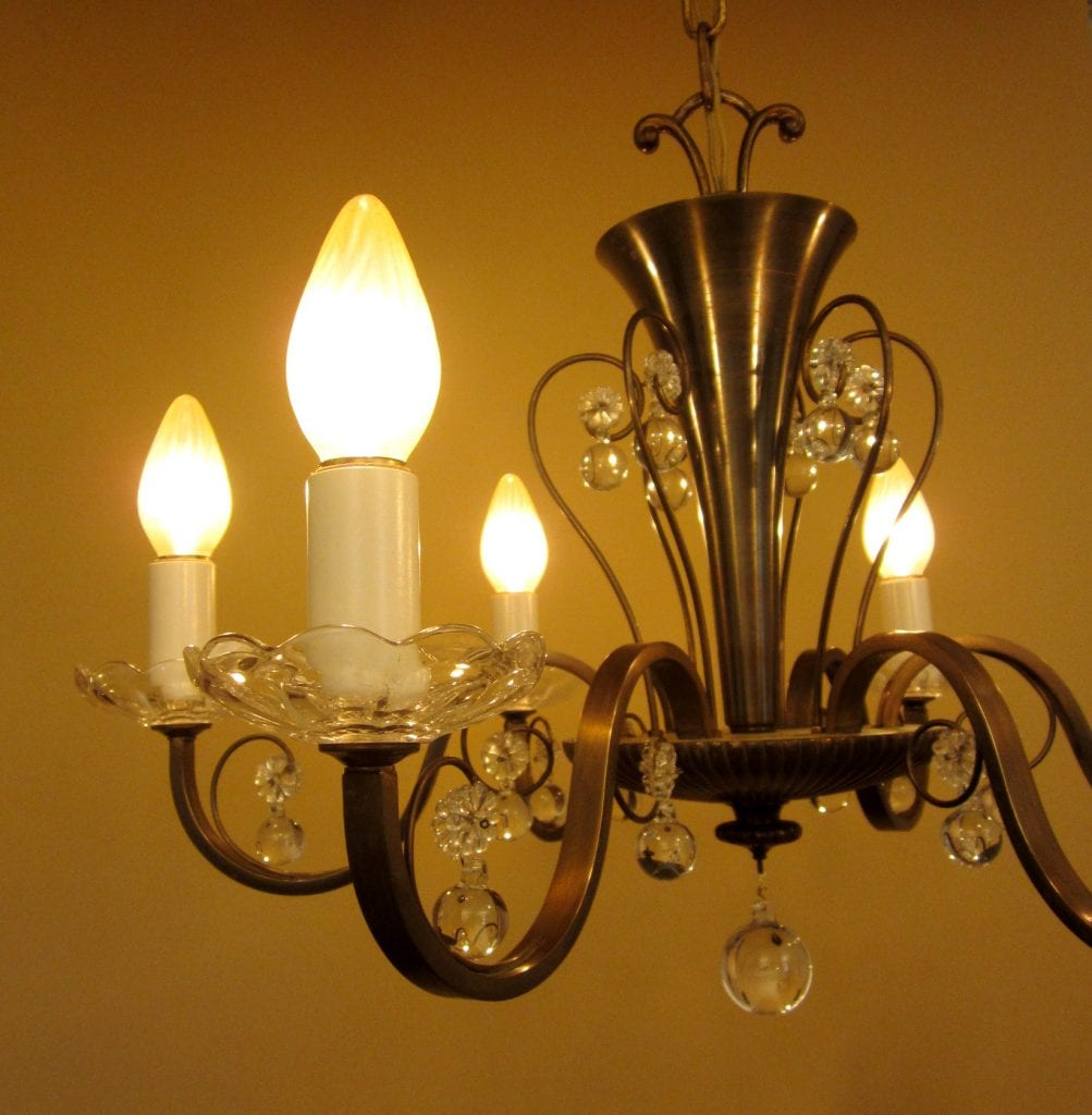 Circa-1950 Mid-Century high-quality chandelier.