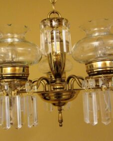 Circa-1950 crystal chandelier. Cut glass shades.