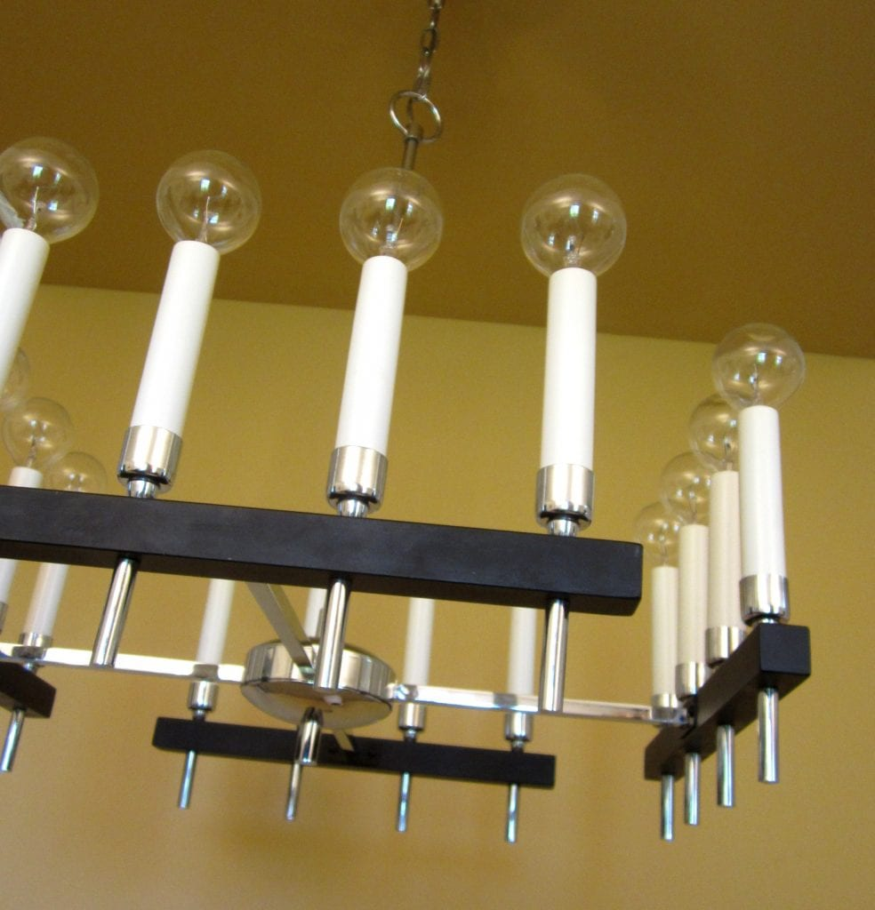 Circa-1970 square chandelier by Progress. Mod!