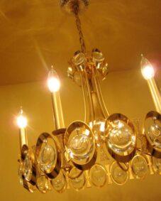Extraordinary 1970s 24K gold crystal chandelier by Sciolari.