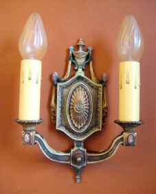 FOUR 1920s 2-arm sconces. Original polychrome.