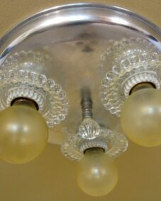 FOUR 1930s aluminum and Hobnail ceiling lights.