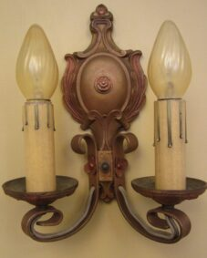 FOUR matching 1920s polychrome 2-arm sconces.