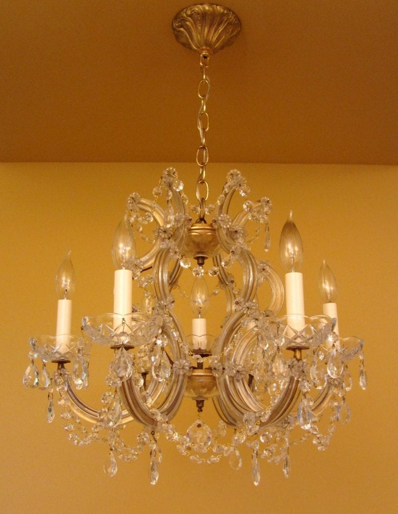 Maria Theresa-style crystal chandelier. Large. 21 wide.