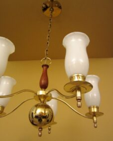 Mid-Century brass/glass/walnut chandelier by Moe.