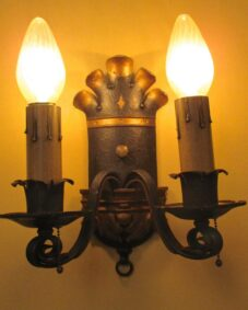 PAIR 1920s Spanish-Revival sconces by Ironcraft