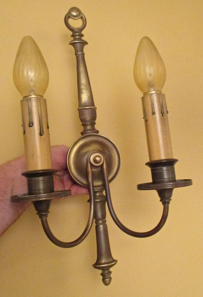 PAIR 1920s brass Colonial-Revival sconces