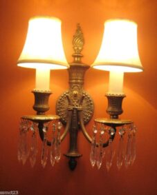 PAIR 1920s brass/crystal 2-arm sconces. High quality.