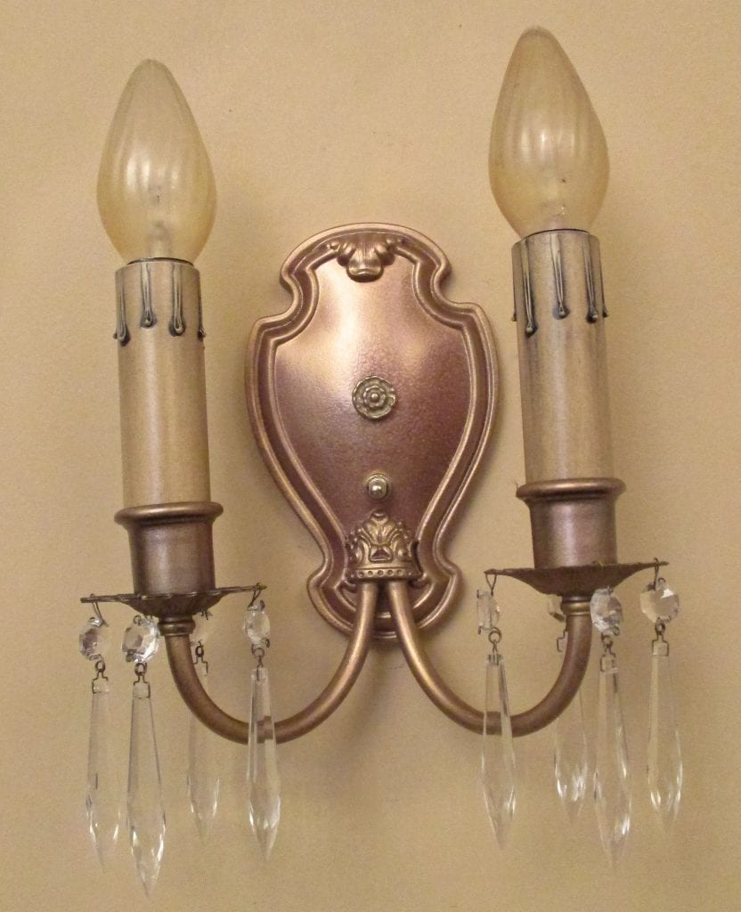 PAIR 1920s crystal sconces
