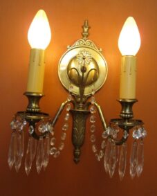 PAIR 1920s high-quality crystal 2-arm sconces. Very beautiful.