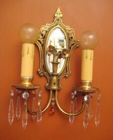 PAIR 1920s high-quality sconces. Mirrored backs.