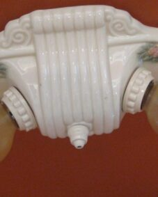 PAIR 1930s porcelain lights by Porcelier. Bath Kitchen Bedroom.