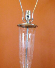 PAIR 1940s cut-glass lamps. New cloth wire. Very beautiful.