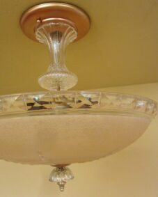 PAIR 1940s fixtures by Markel. One chandelier. One pendant.