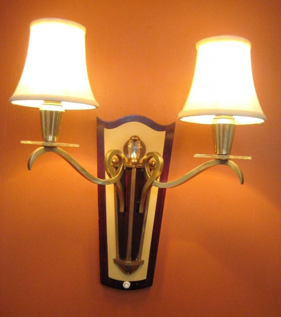 PAIR 1950s 2-arm Eames Mid-century sconces. Likely French.