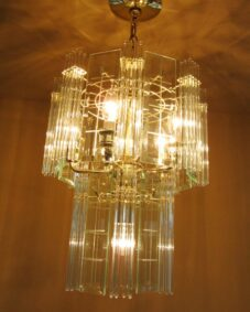 PAIR 1970s Mod glass rod chandeliers.