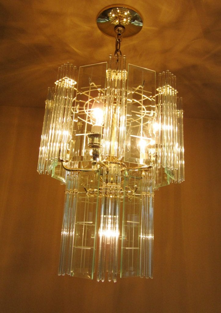 1970s Mod Glass Rod Chandeliers Pair