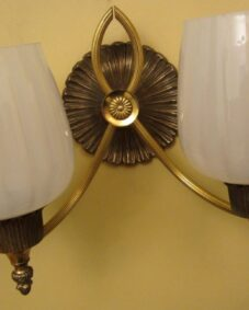 PAIR circa-1965 Hollywood-Regency sconces by Lightolier.