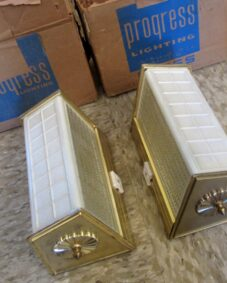 PAIR never-used Mid-Century bathroom wall sconces.