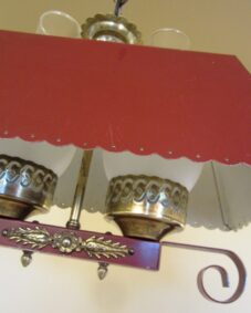 PAIR of 1940s red hanging lights. Ideal for rustic cabin.