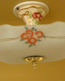 Rare circa-1950 porcelain and glass ceiling fixture.