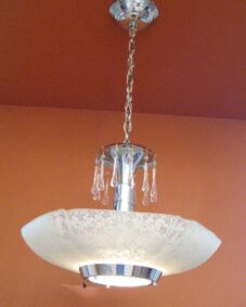 Striking Lightolier chandelier. 1940s glamour. MORE AVAILABLE