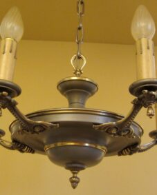 Striking circa-1915 pan-style chandelier. Original finish.