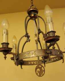 Striking high-quality 1920s Spanish-Revival chandelier.