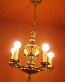 Vintage Lighting pair antique 1920s Halcolite chandeliers Very High Quality