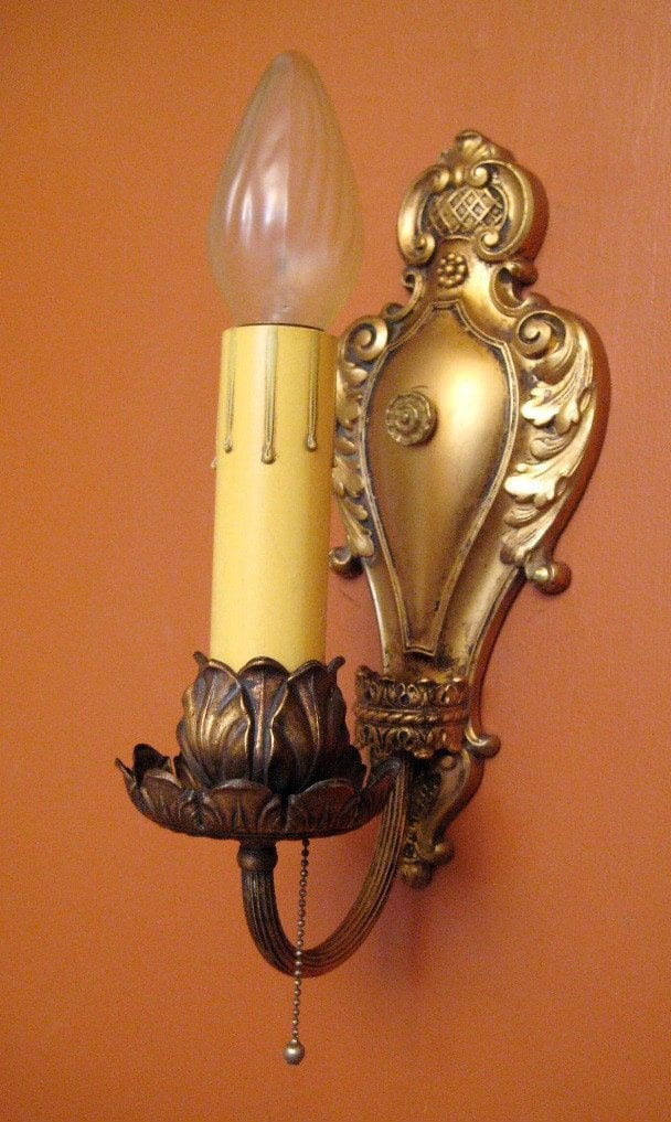 Vintage Sconces pair antique 1920s Baroque like quality sconces Very Beautiful